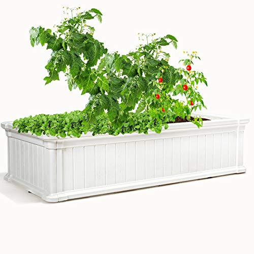 Giantex Raised Garden Bed, Planter for Flower Vegetables, Outdoor Plant Box Patio Backyard, Easy Assembly (48''Lx24''Wx12''H, White)