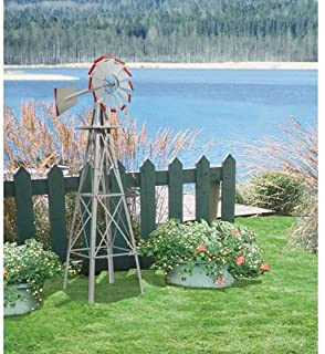 Kotulas 4ft. Ornamental Windmill, Galvanized with Red Tips