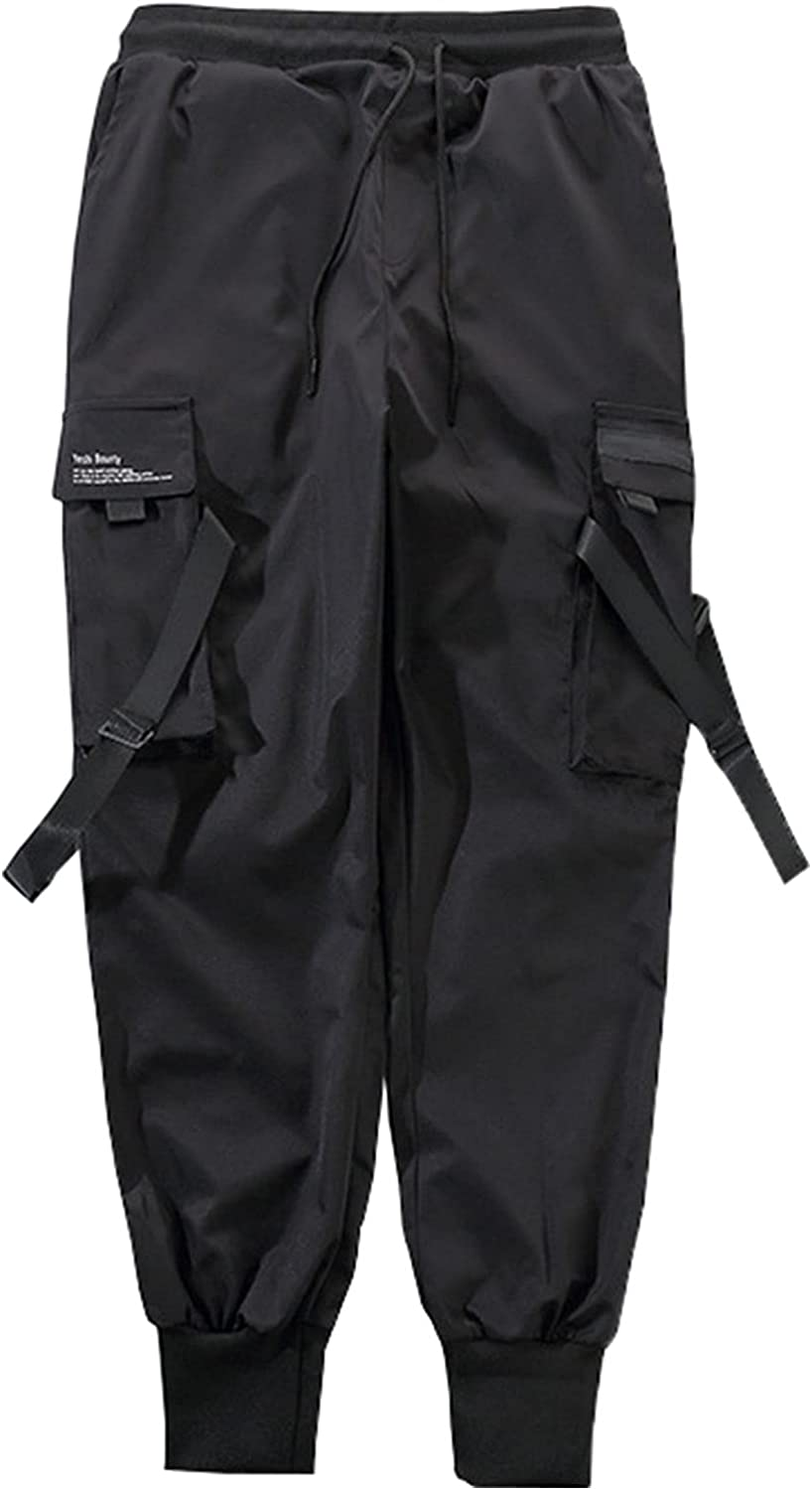 LZJDS Men's Functional Overalls Casual Teen Cargo Pants Joggers Multi-Pocket Drawstring Trousers