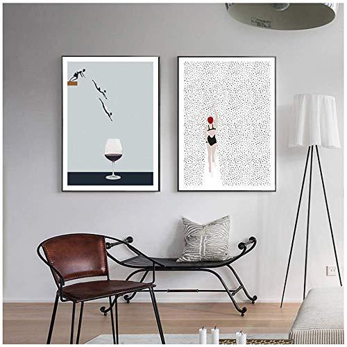LangGe wandbild - 2x60x80cm - Kein Rahmen - Schwimmen Weinglas - Nordic Abstract Poster Wandkunst Bilder für Wohnzimmer Prins dekorativ