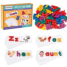 Vinciph Educational Toys – Montessori Toys for Toddlers Sight Word Games, Learning Toys for 2-5 Years Old, Matching Letter Game Preschool Gift for Boys Girls (30 Flash Cards&78 Wooden Alphabet Blocks)