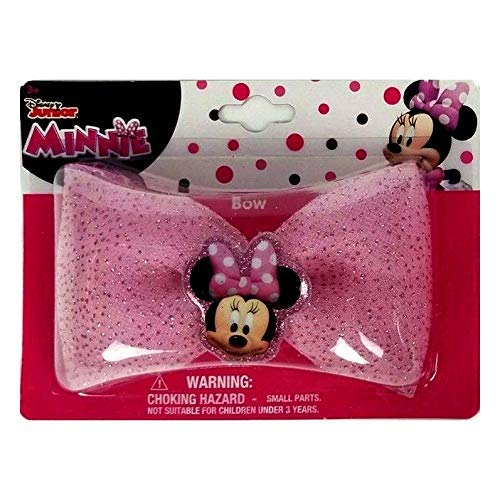 HER Accessories (1) Disney Junior Minnie Bow - Clip-On Hair Accessory for Girls - Pink with Glitter & Minnie Mouse Decoration 4.25' Wide