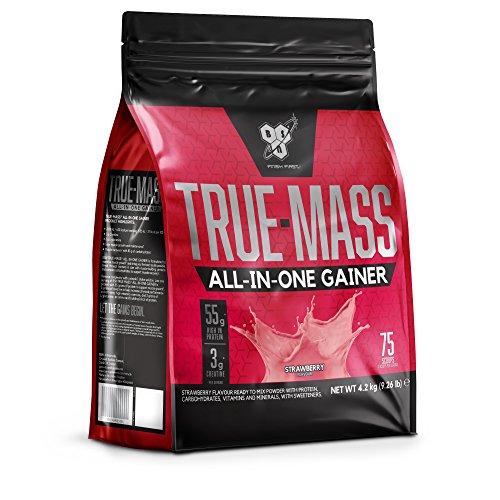 BSN All In One Weight Gainer Polvo de Proteína de Suero con Creatina, Glutamina y Vitamina D, Fresa - 4.2 kg, 25 porciones