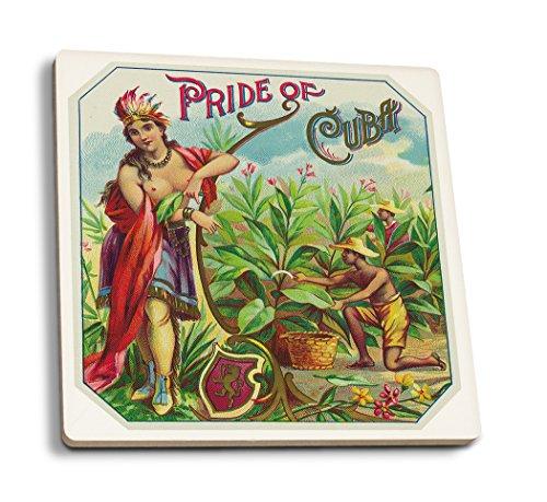 Pride of Cuba Brand Cigar - Vintage Label (Set of 4 Ceramic Coasters - Cork-Backed, Absorbent)