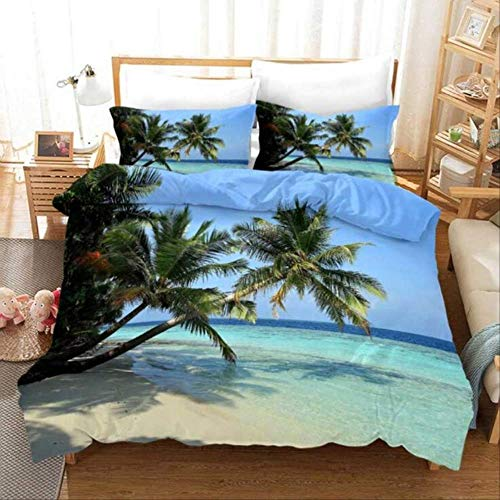 WGLG Double Bed Duvet Sets, 3D Beach Scenery Home Textiles Luxury Bedding Set Linens Duvet Cover Set And Pillowcases Bedclothes Eu Single Red