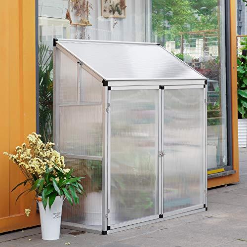 HomeMiYN Mini 2-Türig Aluminium kleines und schiefes Gewächshaus mit Fundament und Fenster, Gartenhaus Gewächshäuser Tomatenhaus Treibhaus, L130xB52xH140
