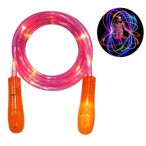 SEALEN Light Up Springseil, Blinkende Farbänderung Springseil Buntes Licht Spaß Spielzeug für Bessere Heath Fitness, Tolles Neues Jahr Geschenk für Kinder Jungen Mädchen (rot)