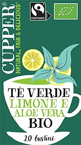 Cupper Tè Verde al Limone e Aloe Vera Biologico Fairtrade (confezione da 20 Bustine)