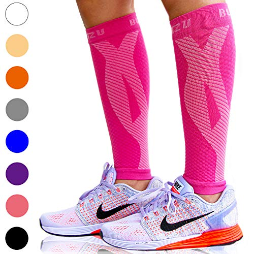 BLITZU Calf Compression Sleeve Socks One Pair Leg Performance Support for Shin Splint & Calf Pain Relief. Men Women Runners Guards Sleeves for Running. Improves Circulation and Recovery Pink S/M