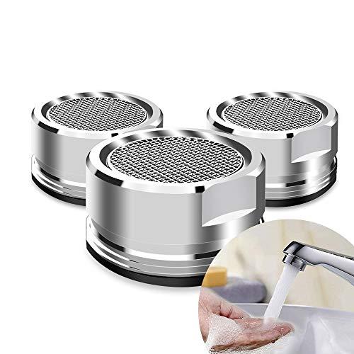 aiMaKE 3 piezas Fregadero Boquilla Difusor Aireador, Filtro grifo de accesorios, Perlator boquilla de mezcla, Difusor de agua grifo para baño y cocina Silver(22MM)