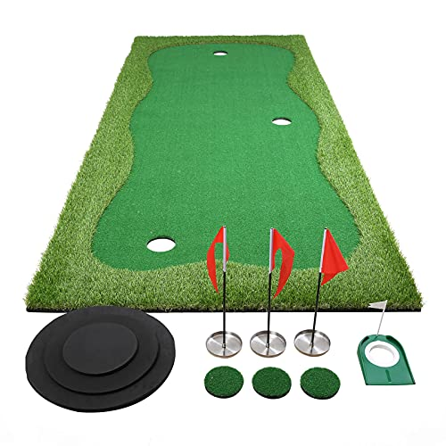 Chriiena Golf Putting Green, Practice Putting Green Mat, Large Professional Golfing Training Mat for Indoor Outdoor (4X10ft)