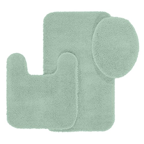 Maples Rugs Cloud Bath 3pc Washable Non Slip Bath Mats and Rug Sets [Made in USA] for Kitchen, Shower, and Toilet, Green Juniper
