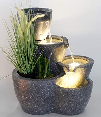 Springbrunnen Botana Gartenbrunnen mit Beleuchtung bepflanzbar Zimmerbrunnen Terrassenbrunnen (LED: Warm-Weiß)
