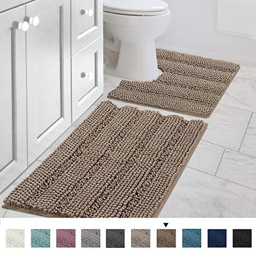 Original Striped Luxury Chenille Bathroom Rug Mat (32' x 20'/20' x 20'), Extra Soft & Absorbent Shaggy Rugs, Machine Wash/Dry, Perfect Plush Carpet Mats for Tub (Curved Set, Taupe Brown)