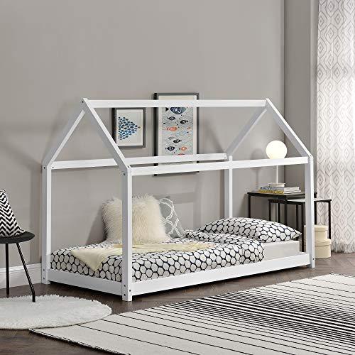 Cama monessori blanca para colchón de 90 x 200 cm