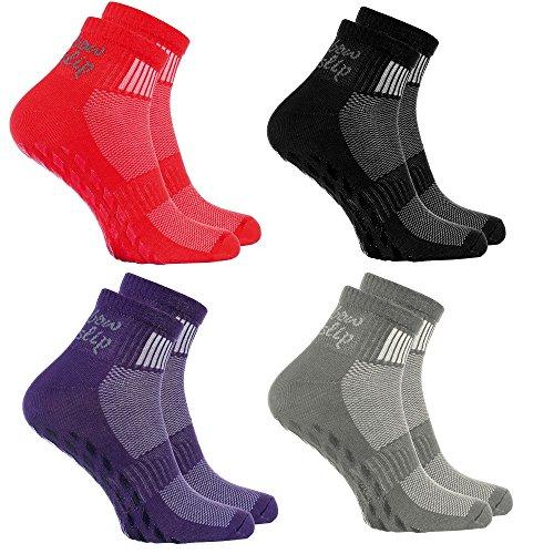 Rainbow Socks - Hombre Mujer Deporte Calcetines Antideslizantes ABS de Algodón - 4 Pares - Negro Gris Rojo Violeta - Talla 39-41