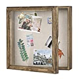 Love-KANKEI Shadow Box Frame 11x11 Shadow Box Display Case with Linen Back Rustic Wood Memory Box for Awards Medals Photos Carbonized Black