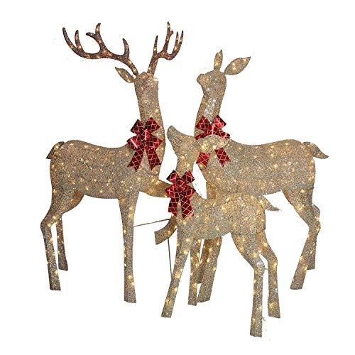 Everstar LED Christmas Holiday Lighted Random Twinkling Gold Mesh Deer Family Yard Decor