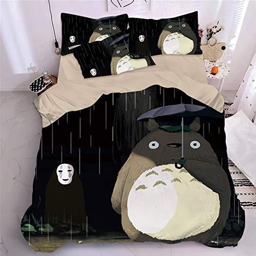 DWSM - Juego de cama infantil con funda nórdica y funda de edredón de microfibra, diseño de mi vecino Totoro