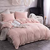 Argstar 3 Pcs 100% Microfiber Queen Duvet Cover Set with Buttons, Washed Cotton Effect, Light Pink