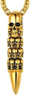 قلادة جمجمة قوطية من الفولاذ المقاوم للصدأ مجوهرات الشرير للرجال الهيكل العظمي قلادة قلادة كول رصاصة شخصية تخصيص هدية التعبئة