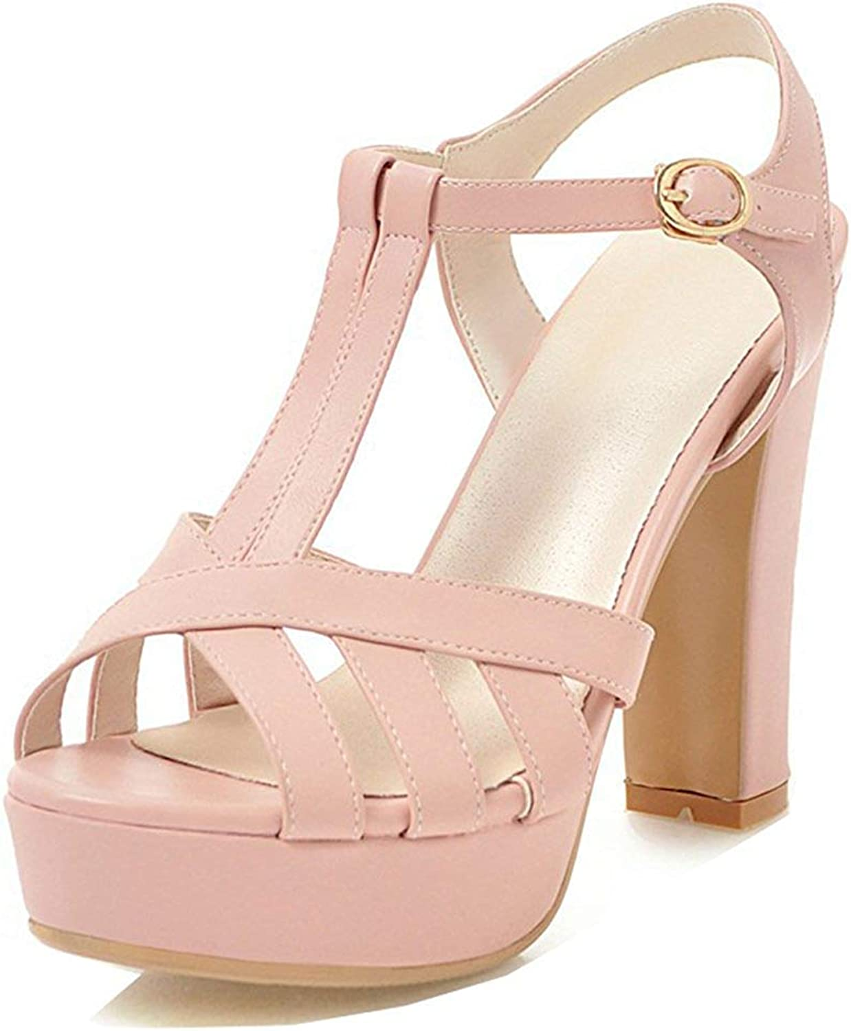 Unm Women's Platform Sandals with Ankle Strap - Cutout Peep Toe Chunky - T Strap Buckled High Heels