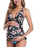 Women Halter Maternity Tankini Swimsuit Floral Pregnancy Plus Size Swimwear Black