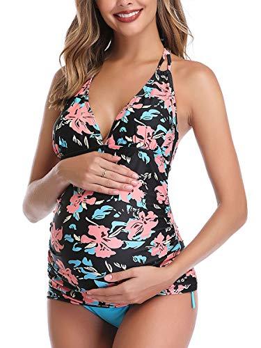 Summer Mae Costumi da Bagno Premaman maternità Tankini Imbottite da Donna Nero XX-Large