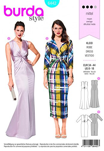 Burda Damen-Schnittmuster 6442 Abendkleid mit V-Ausschnitt