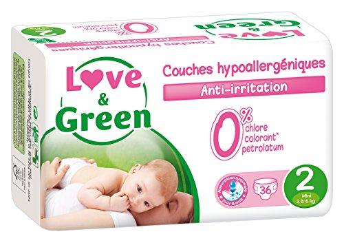 Love & Green - Couches Bébé Hypoallergéniques 0% - Taille 2 (3-6 kg) - Lot de 3 x 36 couches (108 couches)