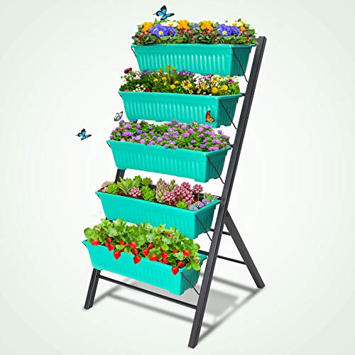 TOOCA Raised Garden Bed, 5-Tier Vertical Garden 4Ft Garden Planter Freestanding Elevated Planters with 5 Container Boxes for Indoor/Outdoor Patio Balcony Gardening, Cascading Water Drainage