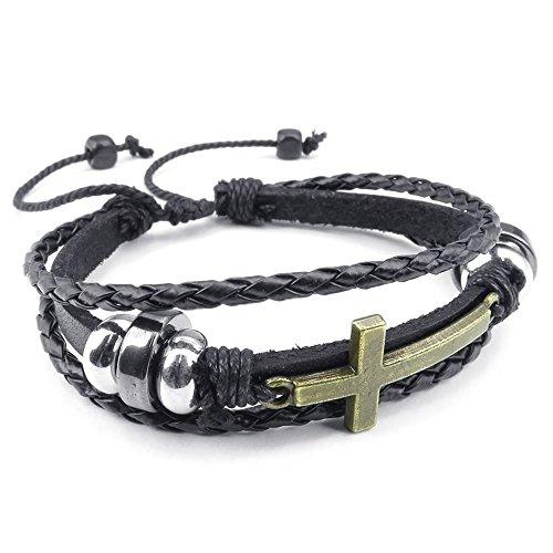 KONOV Jewellery Herren Damen Leder Armband, Charm Kreuz Wrap Armreif verstellbar, braun gold (mit Geschenk Tüte)