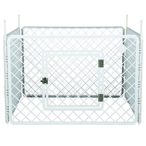 Iris Ohyama, parque para perros / jaula exterior / recinto / perrera 4 vallas - Pet Circle - H-604, plástico, blanco, 6.3 kg, 90 x 90 x 60 cm