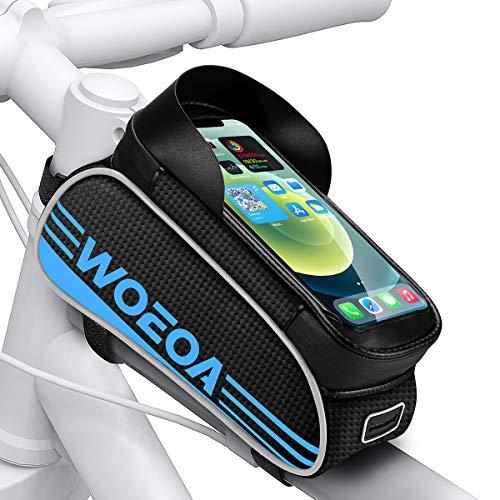 WOEOA Borsa Telaio Bici, Porta Cellulare Bici Impermeabile Supporto Telefono Manubrio per Mountain Bike Touch Screen Buco per Auricolare Borse per iPhone 11/ 11pro/ X/XR/ 8 Samsung Note (Blu)