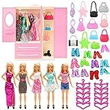 Miunana 36 PCS Kleiderschrank Möbel für Puppen = 1 Schrank + 5 Kleider + 10 Schuhe + 10 Kleiderbügel +10 Tasche -