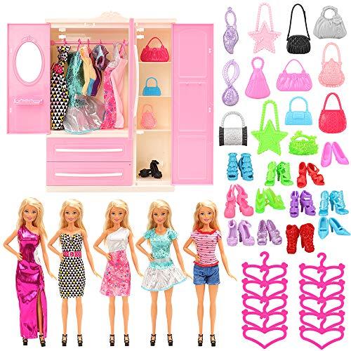 Miunana 36 Kleiderschrank Kleidung Accessoires für Puppen = 1 Schrank + 5 Kleider + 10 Schuhe + 10 Kleiderbügel + 10 Handtasche für 11,5 Zoll Mädchen Puppen