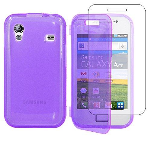 ebestStar - Funda Compatible con Samsung Ace Galaxy S5839i, S5830, S5830i Carcasa Cartera Proteccion Formato Libro, Silicona Gel Case Shock-Absorción, Violeta [Aparato: 112.4 x 59.9 x 11.5mm, 3.5'']