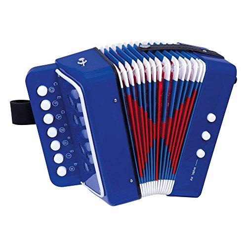 Bino & Mertens 86584 Akkordeon, Spielzeug für Kinder ab 3 Jahre, Kinderspielzeug (Kinder Musikinstrument mit 10 kleinen Tasten, buntes Tasteninstrument, optimal an Kinderhände angepasst, inkl. Gürtelschnalle), Blau