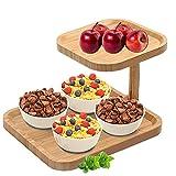 Supporto per Torta in Bambù, MKNZOME Alzata per Torta a 2 Piani Vassoi per Torte, Frutta Piastra Supporto Alzata per sistemare Cibo, Dessert per Le Feste, Set per servire Dolci