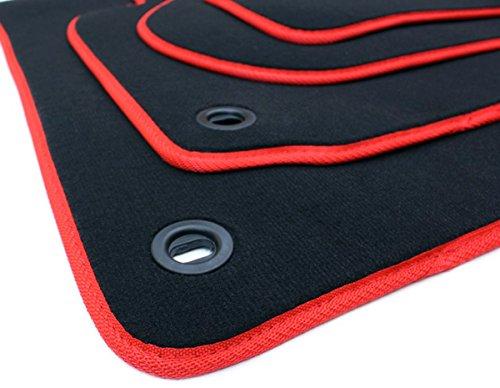 kfzpremiumteile24 Fußmatten/Velours Automatten Premium Qualität Stoffmatten 4-teilig schwarz/rot Drehknebel oval