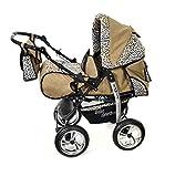 Kamil - Sistema de viaje 3 en 1, silla de paseo, carrito con capazo y silla de coche, RUEDAS ESTÁTICAS y accesorios (Sistema de viaje 3 en 1, beige y leopardo)