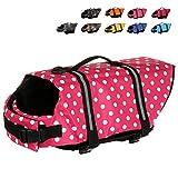 Mummumi Dog Life Jacket, Adjustable Dog Swim Vest with Handle Pet Puppy Saver Swimming Lifejackets Vest Coat (XXS, Pink 1)