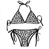 zhkx Bikini Black White Leopard Or Jaguar Pattern Design Bikini Set Two Piece,Triangle Padded Cut out Swimsuit for Ladies Swimming Costume