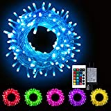 Oycbuzo Color Changing Christmas Lights, Plug in Powered Multicolor 100 LED String Lights with Remote Control, Twinkle Firefly Lights for Bedroom Indoor Outdoor Party Wedding Tapestry
