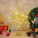 OSALADI - Puntale per albero di Natale illuminato a otto punte, con luci a stringa, in filo di ferro, decorazione per albero di Natale, per feste in interni (oro)