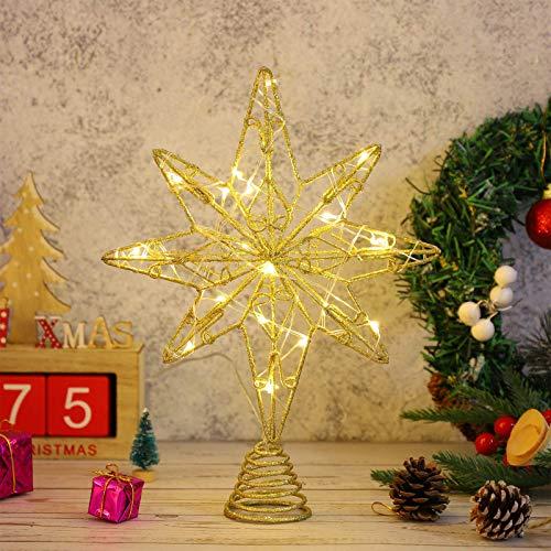 OSALADI Beleuchteter Stern für Weihnachtsbaumspitze beleuchtet – 8 Spitzen – Lichterkette – aus Eisen – Goldfarben