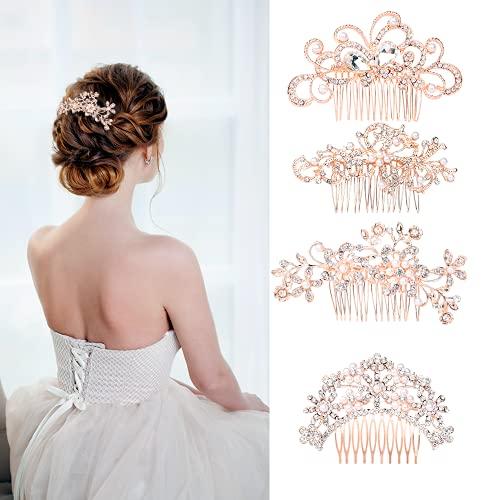 4 Pieces Wedding Hair Accessories Rose Gold Bridal Hair Accessories Faux Pearl Rhinestone Hair Combs For Women Bride Bridesmaid Girls Birthday Party Porm