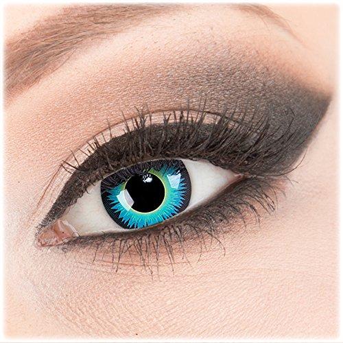 Farbige blaue Crazy Fun Kontaktlinsen 1 Paar 'Seraphin' mit Kombilösung (60ml) + Behälter - Topqualität von 'Evil Lens' zu Fasching Karneval Halloween ohne Stärke