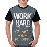 Man's T Shirts,Hand Lettering Design About Working Hard and Being Nice Retro X-L