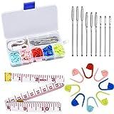 Marcadores de Puntos Ganchillo Set 60pcs Plástico Marcadores de Crochet 9pcs Aguja de Ojo Grande 1pcsCuerpo Regla de medición de Costura Accesorios para coser